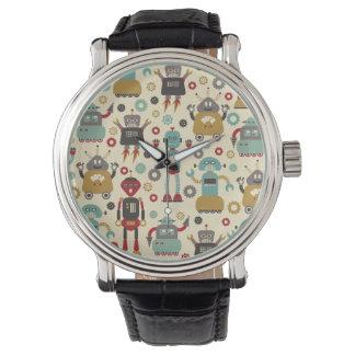 Retro Robots Geïllustreerde Patroon van de pret Horloge