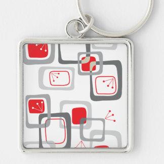 Retro Rode Vierkanten Keychain van de Kers Sleutelhanger