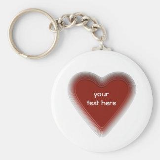 Retro rood hart keychain voor uw tekst basic ronde button sleutelhanger