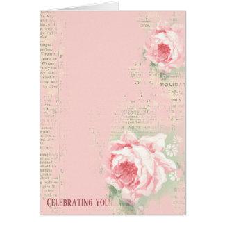 retro rozen op krantenpapier kaart