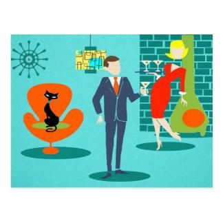 Retro RuimteBriefkaart van het Paar van de Cartoon Briefkaart