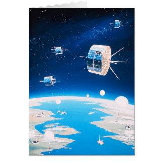 Retro ruimteraket satelliet vintage illustratie wenskaart