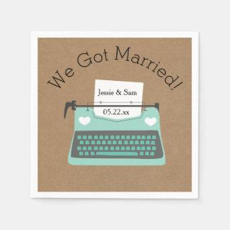 Retro Servetten van het Document van het Huwelijk Wegwerp Servet
