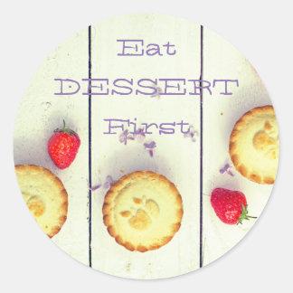 """Retro Sticker van het """"dessert eerst"""" met zoete"""
