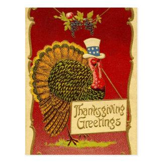 Retro Thanksgiving Turkije Briefkaart