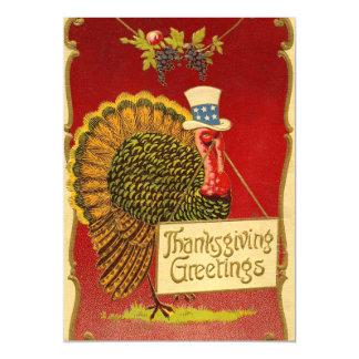 Retro Thanksgiving Turkije Magnetische Kaart