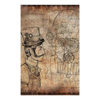 Retro Toestellen van de Heer van Steampunk Briefpapier