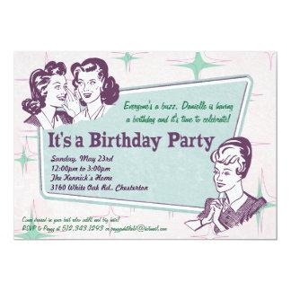Retro Uitnodiging van de Verjaardag van het Kapsel