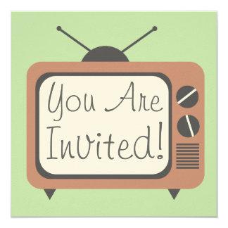 Retro Uitnodiging van het Televisietoestel