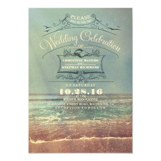 Retro uitnodigingen van het strandhuwelijk -