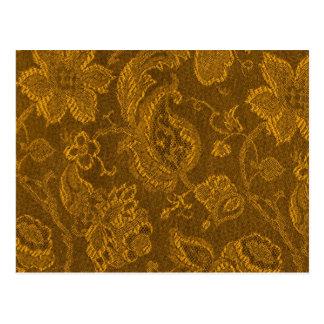 Retro Vintage Bloemen Gele Gouden Briefkaart van