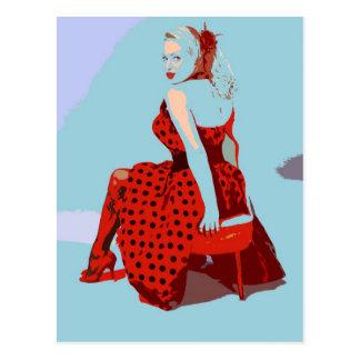 Retro Vintage Dame van de Tuimelschakelaar in de Briefkaart
