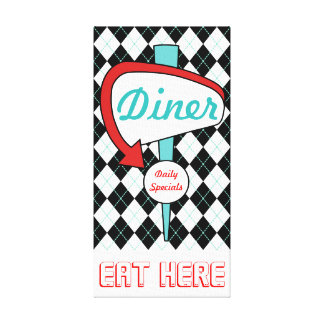Retro Vintage Diner Gift van de Kunst van de Muur Canvas Afdruk
