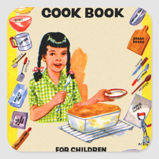 Retro Vintage Kookboek van de Kitsch voor het Art. Vierkante Sticker