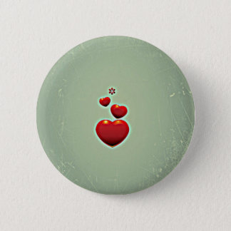 Retro Vintage Rode Harten op Groene Achtergrond Ronde Button 5,7 Cm
