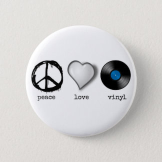 Retro Vinyl van de Liefde van de Vrede van jaren Ronde Button 5,7 Cm