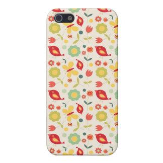 Retro vogels en bloemenpatroon iPhone 5 hoesje