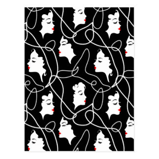 Retro vrouwen rood zwart silhouet met elegante briefkaart