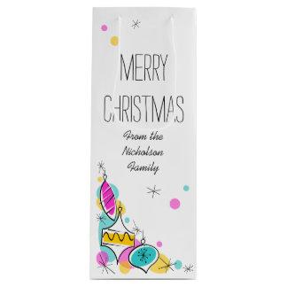 Retro wijn van de Tekst van Kerstmis van de Hoek Wijn Cadeautas