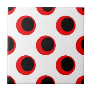 Retro Zwart en Rood op het Witte Patroon van de Keramisch Tegeltje