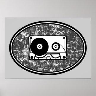 Retro Zwarte & het Wit van de Band van de Cassette Poster