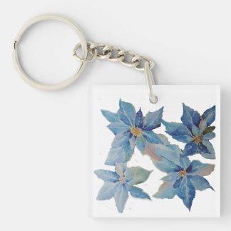 Reuze Blauwe Poinsettia Sleutelhanger