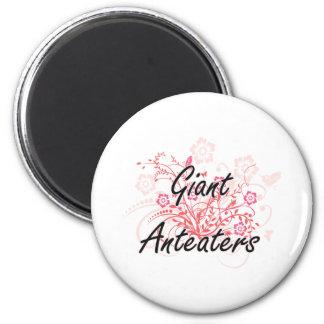 Reuze Miereneters met bloemenachtergrond Ronde Magneet 5,7 Cm