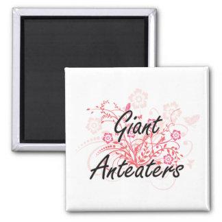 Reuze Miereneters met bloemenachtergrond Vierkante Magneet