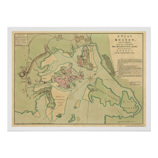 Revolutionaire Kaart 1776 van Boston Poster