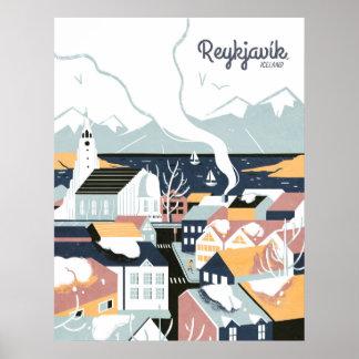 Reykjavik, IJsland het Vintage Poster van de Reis