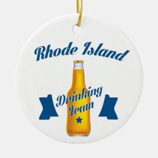 Rhode Island die team drink Rond Keramisch Ornament