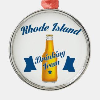 Rhode Island die team drink Zilverkleurig Rond Ornament