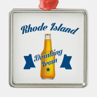 Rhode Island die team drink Zilverkleurig Vierkant Ornament
