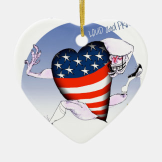 Rhode Island luide en trotse, tony fernandes Keramisch Hart Ornament