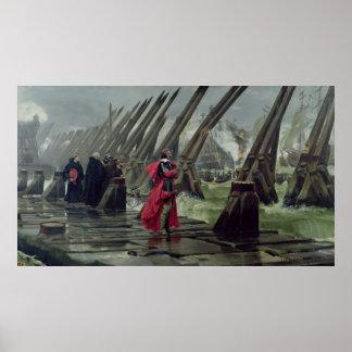 Richelieu op de zeedijk in La Rochelle, 1881 Poster