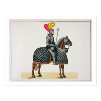 Ridder in pantser op zijn paard, bord van een briefkaart