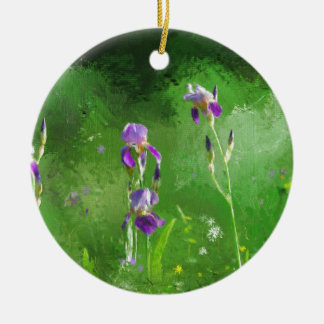 Rij van Irissen Rond Keramisch Ornament