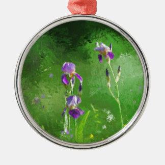 Rij van Irissen Zilverkleurig Rond Ornament