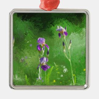Rij van Irissen Zilverkleurig Vierkant Ornament