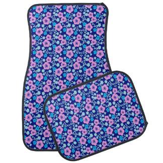 Rijke blauwe en roze bloemenpatroon Japanse Pruim Auto Vloermat
