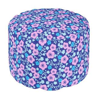 Rijke blauwe en roze bloemenpatroon Japanse Pruim Poef