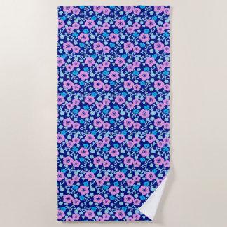 Rijke blauwe en roze bloemenpatroon Japanse Pruim Strandlaken