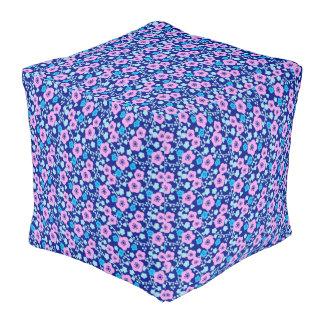 Rijke blauwe en roze bloemenpatroon Japanse Pruim Vierkant Zitkussen
