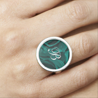 Rijke blauwgroen blauwgroene fluweelachtige rozen foto ringen