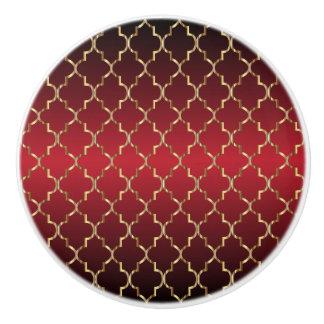 Rijke Donkerrode en Gouden Quatrefoil Keramische Knop
