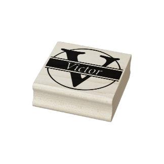 Ring & Strepen + uw Monogram/Naam Rubberenstempel