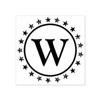 Ring van het Monogram van Sterren Rubberenstempel