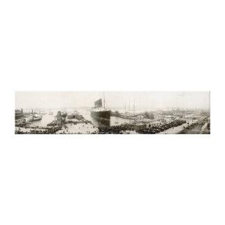 RMS Lusitania New York de Wijnoogst van de Stad Canvas Afdrukken