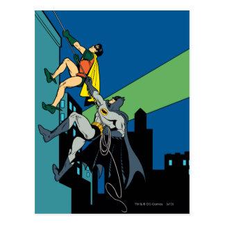 Robin en Batman beklimmen Briefkaart