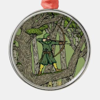 Robin Hood Zilverkleurig Rond Ornament